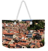 Aerial View Of Piran Slovenia With St George's Cathedral On The  Weekender Tote Bag