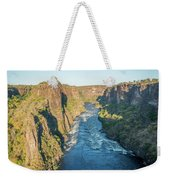 Aerial View Of Sunlit Rapids In Canyon Weekender Tote Bag