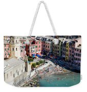 Aerial View Of Vernazza, Cinque Terre, Liguria, Italy Weekender Tote Bag