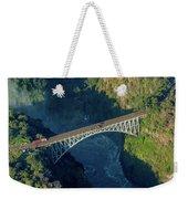 Aerial View Of Victoria Falls Suspension Bridge Weekender Tote Bag