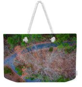 Aerial View Over Wooded Forest And Road Weekender Tote Bag