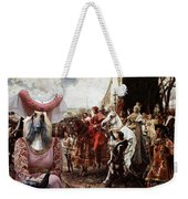 Afghan Hound-the Reverance To The Queen Canvas Fine Art Print Weekender Tote Bag
