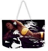African American Woman In Bikini Lying In Black Water Weekender Tote Bag
