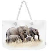 African Elephant Group Isolated Weekender Tote Bag