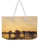 African Elephants Weekender Tote Bag by Charles Emile de Tournemine