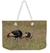 African Grey Crowned  Crane With Chick Weekender Tote Bag