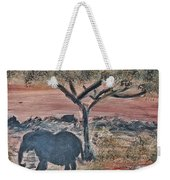 African Landscape With Elephant And Banya Tree At Watering Hole With Mountain And Sunset Grasses Shr Weekender Tote Bag