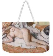 After The Bath Or Reclining Nude Weekender Tote Bag by Edgar Degas
