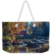 Afternoon Autumn Sun On Vermont Covered Bridge Weekender Tote Bag