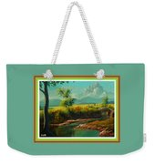 Afternoon By The River With Peaceful Landscape L A S With Decorative Ornate Printed Frame. Weekender Tote Bag