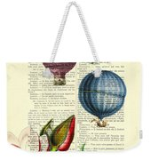 Hot Air Balloons Above Flower Field Weekender Tote Bag