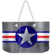 Air Force Logo On Riveted Steel Plane Fuselage Weekender Tote Bag