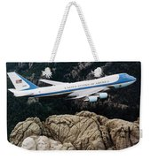 Air Force One Flying Over Mount Rushmore Weekender Tote Bag