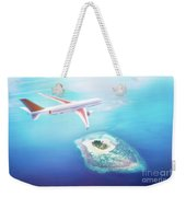 Airplane Flying Over Maldives Islands On Indian Ocean. Travel Weekender Tote Bag
