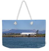 airplane on airport Corfu island Greece Weekender Tote Bag