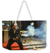 Al Pacino As Tony Montana With Machine Gun Blasting His  Fellow Bad Guys Scarface 1983 Weekender Tote Bag