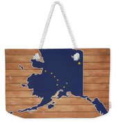 Alaska Map And Flag On Wood Weekender Tote Bag