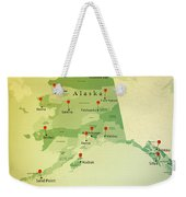 Alaska Map Square Cities Straight Pin Vintage Weekender Tote Bag
