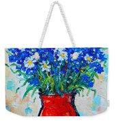 Albastrele Blue Flowers And Daisies Weekender Tote Bag by Ana Maria Edulescu