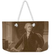 Alexander Hamilton Sitting At His Desk Weekender Tote Bag by War Is Hell Store