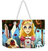 Alice And The Rabbit Having Tea... Weekender Tote Bag