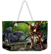 Alien Vs Iron Man Weekender Tote Bag by Pete Tapang