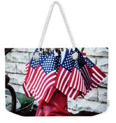 All American Flag And Red Boots - Painterly Weekender Tote Bag
