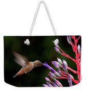 Allen's Hummingbird At Breakfast Weekender Tote Bag by Mike Herdering