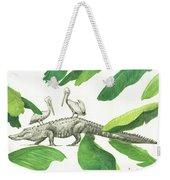 Alligator With Pelicans Weekender Tote Bag