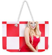 Alluring Long Haired Blonde Beauty In Retro Cafe Weekender Tote Bag