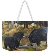 Along An Autumn Path - Black Bear With Cubs Weekender Tote Bag