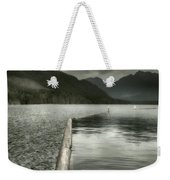 Along The Washington Coast - Dock, Breakwater, And Mountains Weekender Tote Bag
