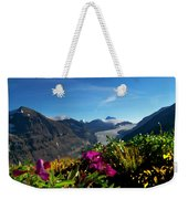 Alpine Meadow Flowers Overlooking Glacier Weekender Tote Bag