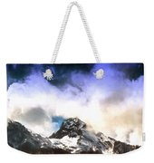 Alpine Mountains And Clouds Watercolour Weekender Tote Bag