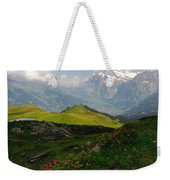 Alpine Roses In Foreground Weekender Tote Bag