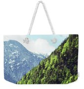 Alpine View In Green Weekender Tote Bag