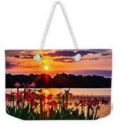 Amaryllis At Sunrise Over Lake Weekender Tote Bag
