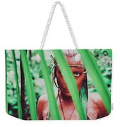 Amazonian Goddess Portrait Of A Wild Looking, Camouflaged Warrior Girl Holding Bow And Arrow Weekender Tote Bag