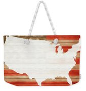 America Rustic Map On Wood Weekender Tote Bag