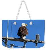 American Bald Eagle On Communication Tower Weekender Tote Bag