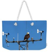 American Bald Eagle Perched On Communication Tower Weekender Tote Bag