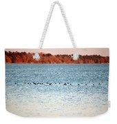 American Coots Crossing Lake Weekender Tote Bag