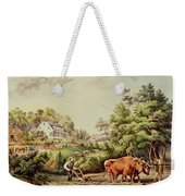 American Farm Scenes Weekender Tote Bag by Currier and Ives