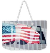 American Flag In Front Of Business Building  Weekender Tote Bag