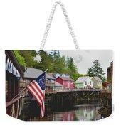 American Flag On Creek Street Ketchikan Alaska Weekender Tote Bag