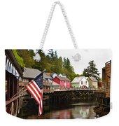 American Flag On Creek Street Ketchikan Alaska Painting Weekender Tote Bag