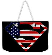 American Flag Superman Shield Weekender Tote Bag by Bill Cannon