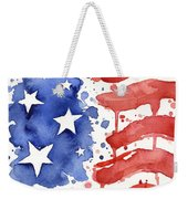 American Flag Watercolor Painting Weekender Tote Bag by Olga Shvartsur