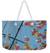 American Flag With Cherry Blossoms Weekender Tote Bag