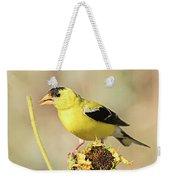 American Goldfinch On Sunflower Weekender Tote Bag